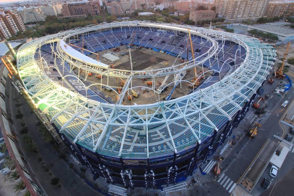 Vista más reciente de las obras de remodelación del Ciutat de València