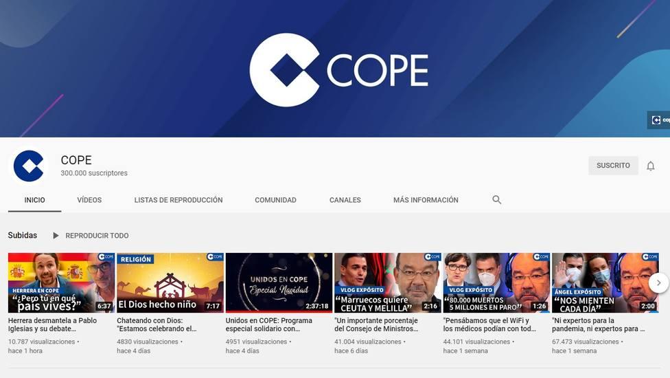 COPE, líder de la radio también en Youtube: suma ya 300.000 suscriptores