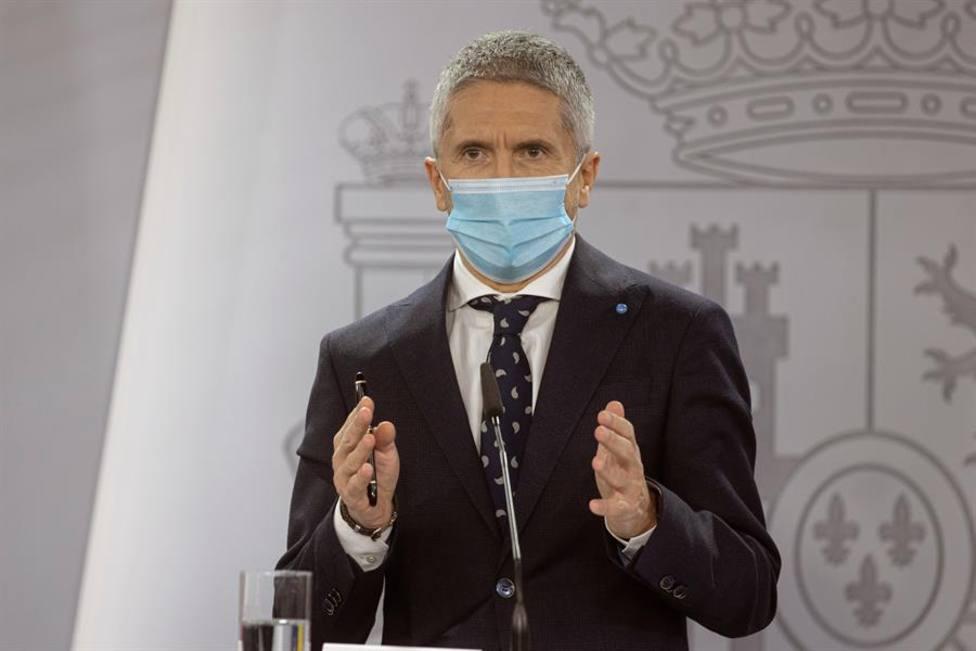 El ministro del Interior Fernando Grande Marlaska en la rueda de prensa