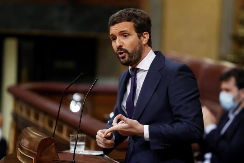 El líder del Partido Popular, Pablo Casado durante su intervención este miércoles en el Congreso