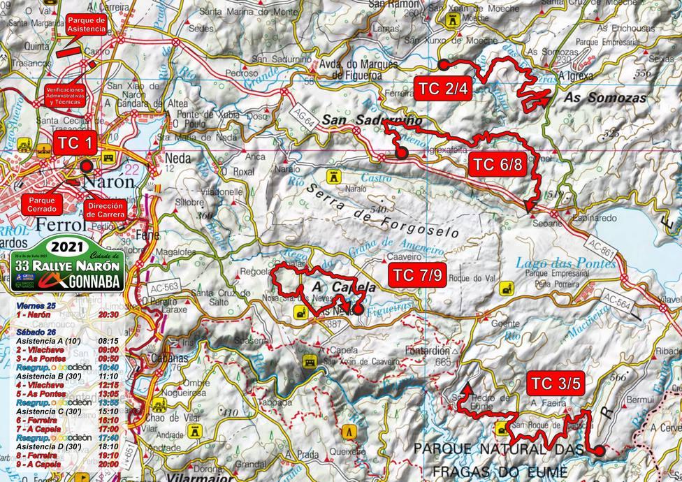 Mapa general del 33º Rallye Cidade de Narón - FOTO: Siroco Narón