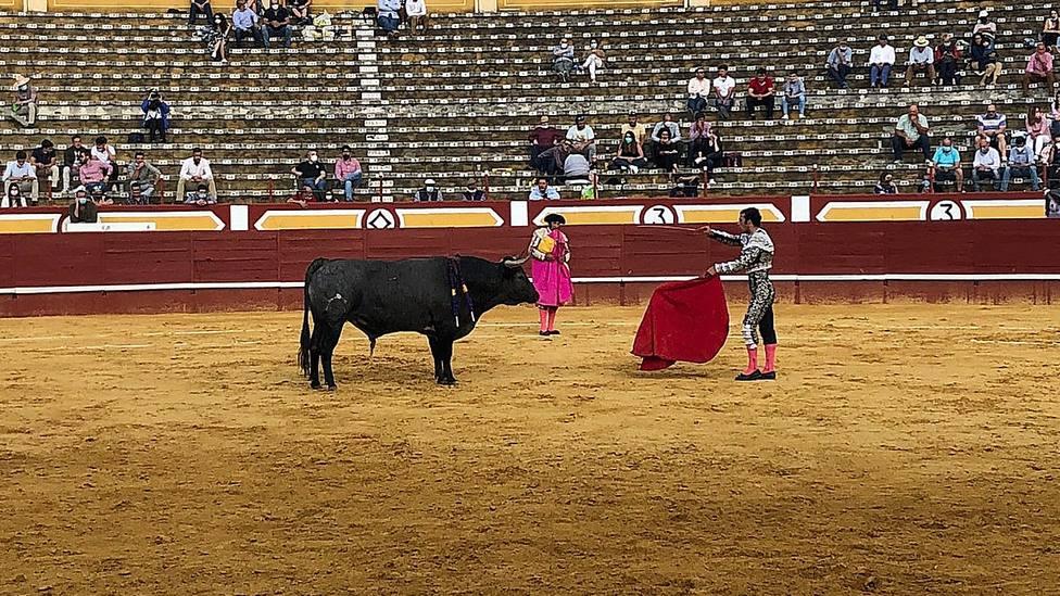 Morenito de Aranda intentando entrar a matar al quinto toro de Partido de Resina en Cuéllar