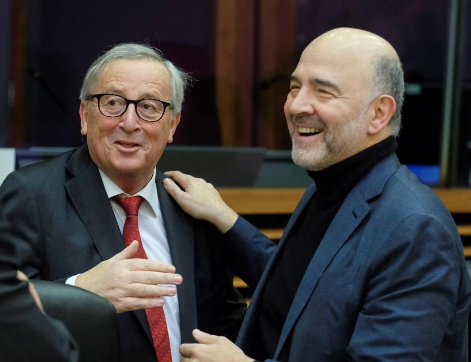 Jean-Claude Juncker y Pierre Moscovici