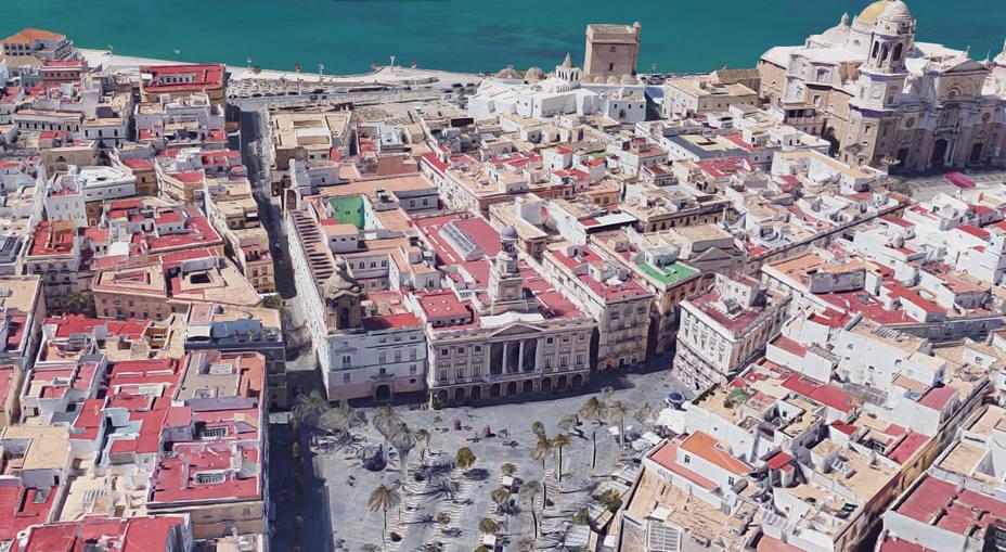 Vista aérea de la zona del Ayuntamiento de Cádiz