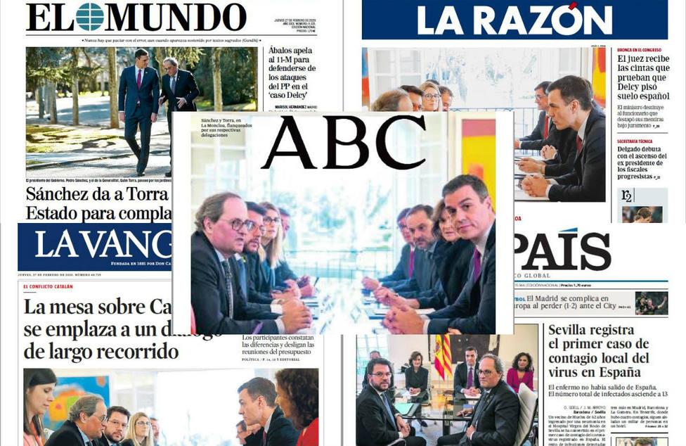 Los honores de jefe de Estado de Sánchez a Torra y las reuniones mensuales, portada en la prensa