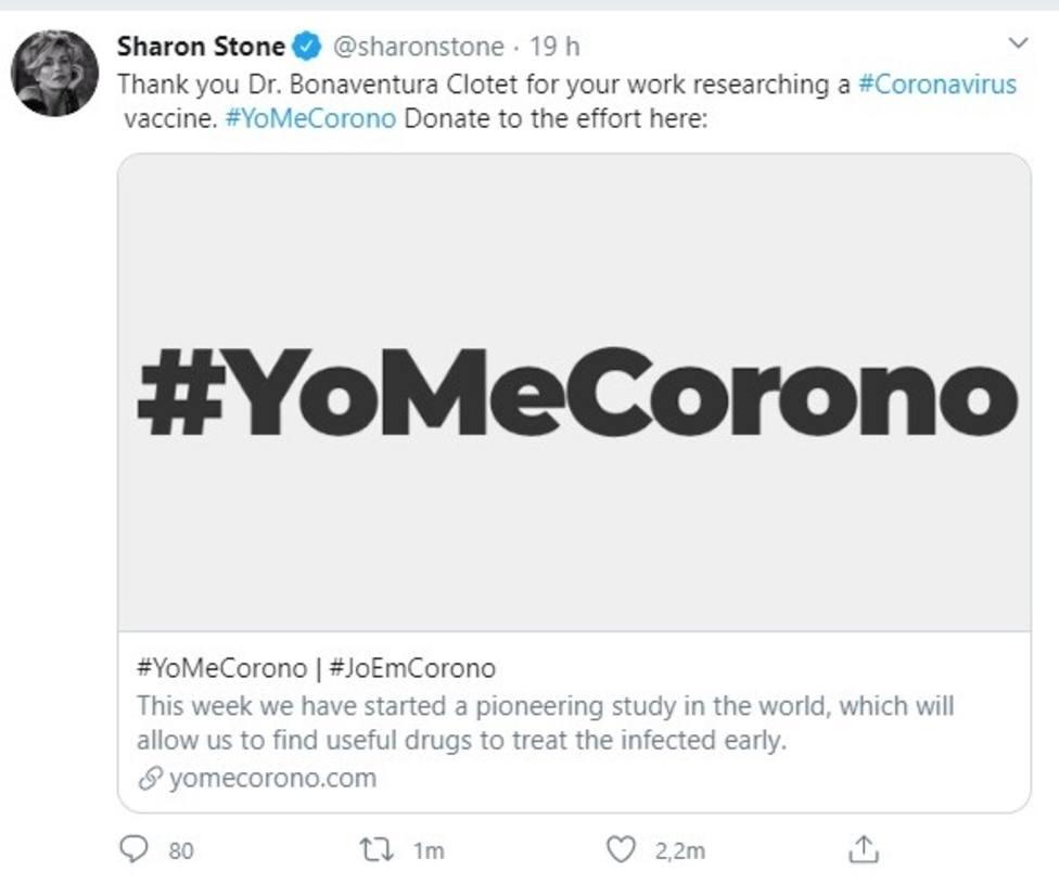 Sharon Stone anima a donar en la iniciativa #YoMeCorono