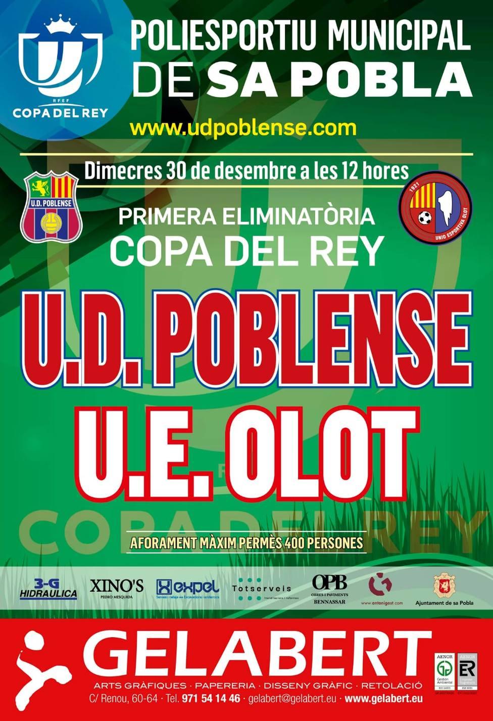 Cartel del Poblense-Olot de la Copa del Rey | Imagen: UD Poblense