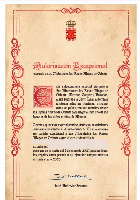 Salvaconducto del Ayuntamiento de Murcia para los Reyes Magos