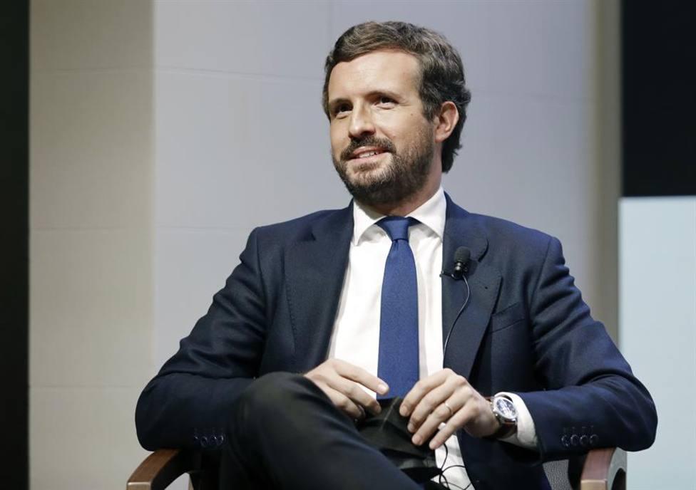 El líder del PP, Pablo Casado, este lunes en Barcelona