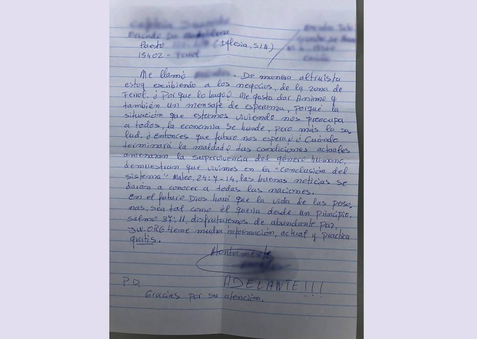 Una de las cartas enviadas a los operadores del Mercado de A Magdalena