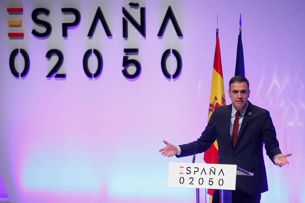 El presidente del Gobierno, Pedro Sánchez, durante la presentación del proyecto España 2050