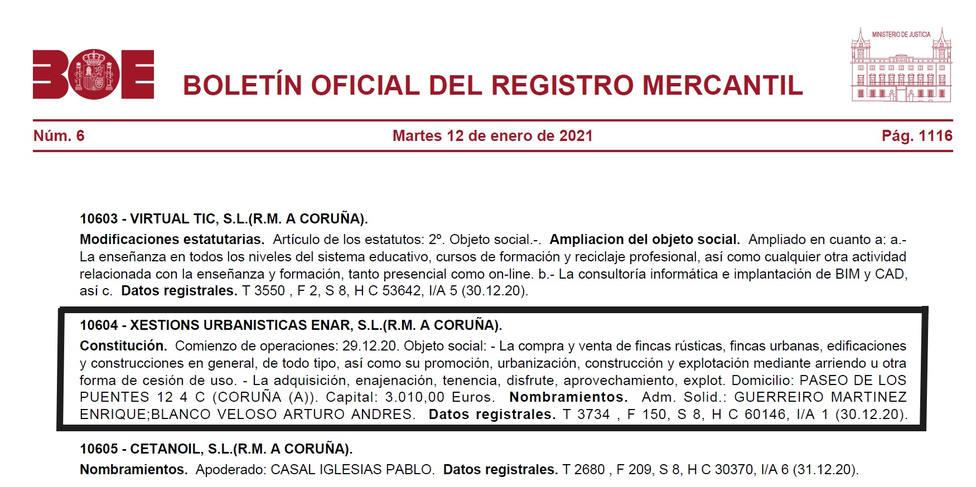 Publicación en el Boletín Oficial del Registro Mercantil - FOTO: BOE