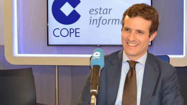 Pablo Casado, presidente del PP, en el estudio de la Cadena COPE.