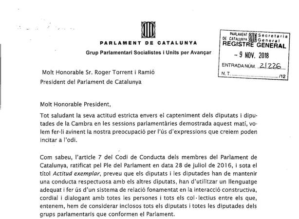 El PSC acusa a Torra y Batet (JxCat) de hacer discursos que pueden incitar al odio