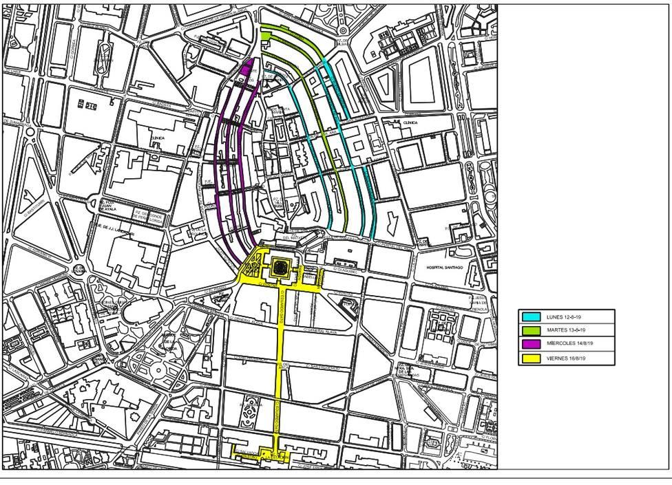 Calles de Vitoria que se van a limpiar en la primera fase