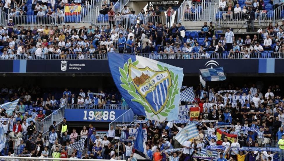 La afición del Málaga, durante un partido del Málaga