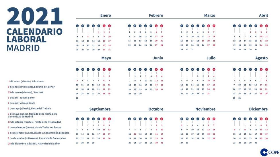 Calendario Laboral Madrid 2021: consulta todos los días festivos