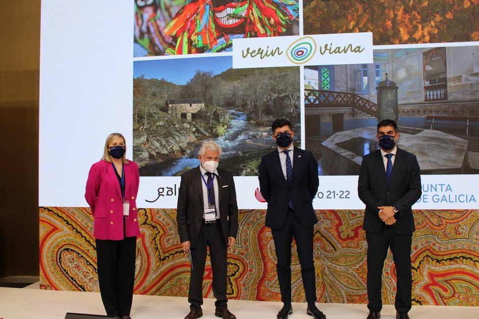 Representantes del Inorde, Eurociudad Chaves-Verín y el delegado provincial en la presentación del geodestino