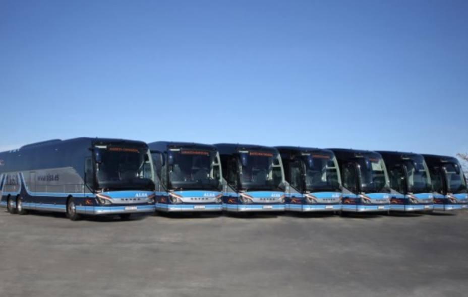 Flota de autobuses de la empresa ALSA