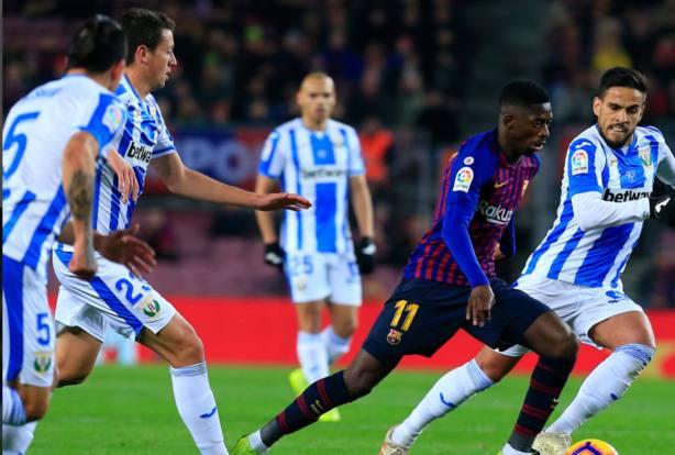 Dembélé conduce el balón ante el Leganés (LaLiga)