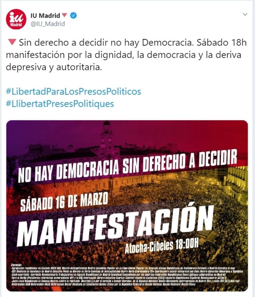 Llamazares critica que IU apoye mañana la manifestación independentista de Madrid