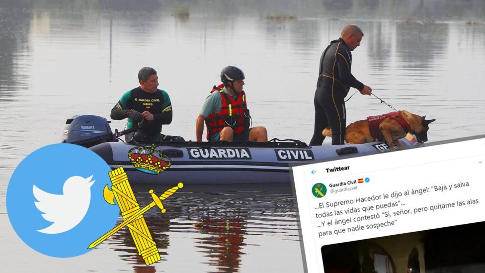 El tuit religioso de la Guardia Civil durante la gota fría que se ha hecho viral