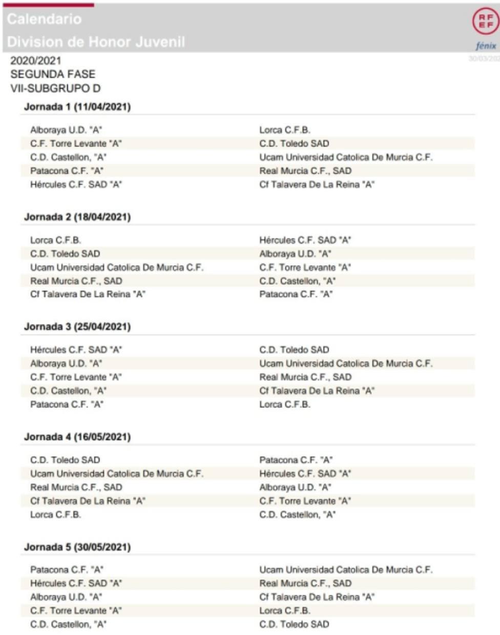 El Lorca CF Base DH ya conoce su calendario para la segunda fase