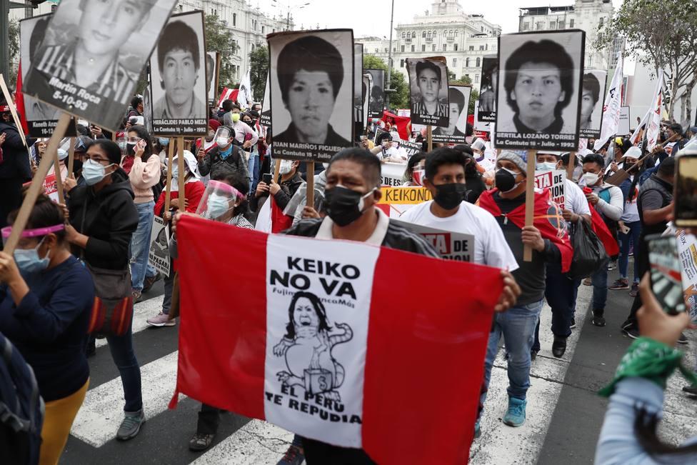Manifestación contra la candidatura de Keiko Fujimori en Perú