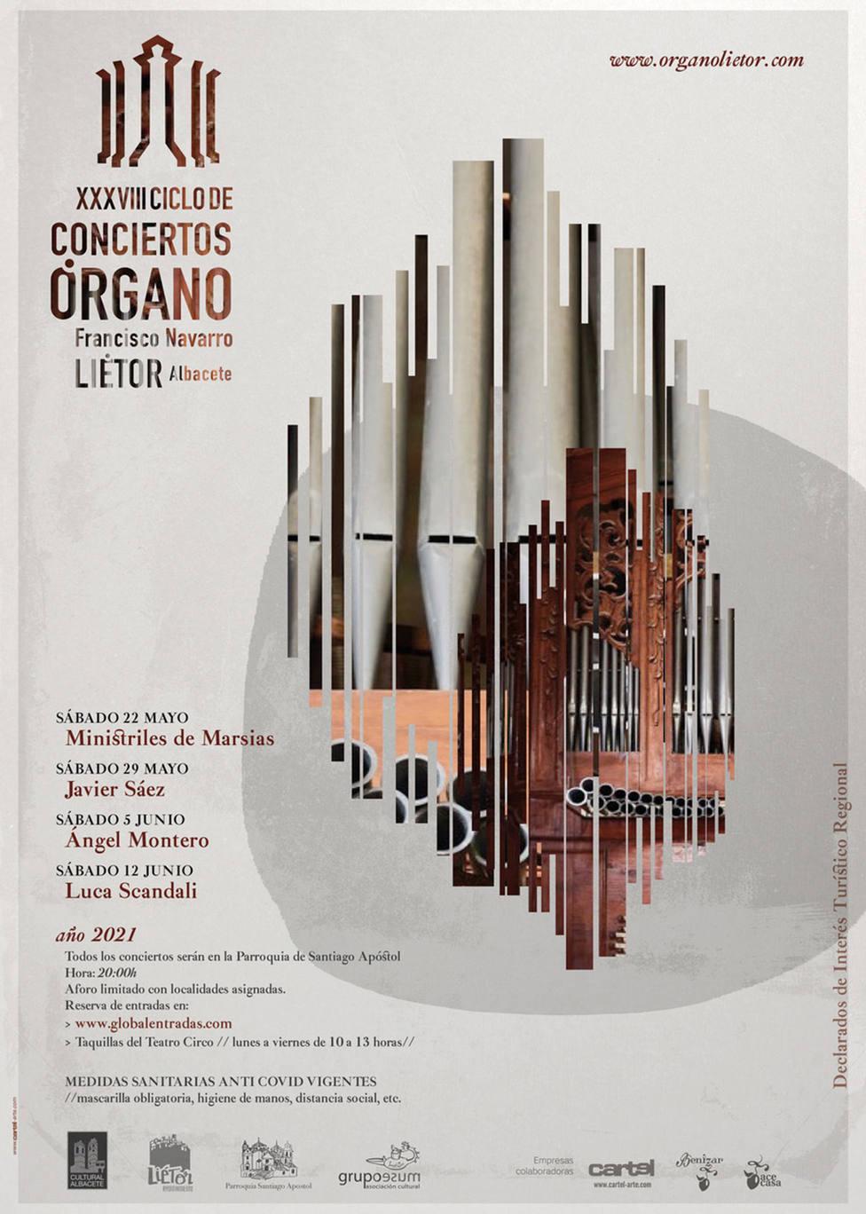 Cartel del XXXVIII Ciclo de conciertos de órgano de Liétor