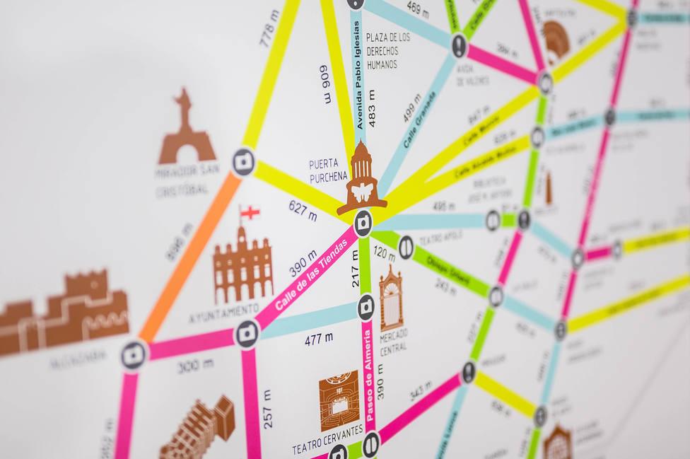 'Metro Minuto', un plano con distancias y tiempos entre puntos de interés de Almería