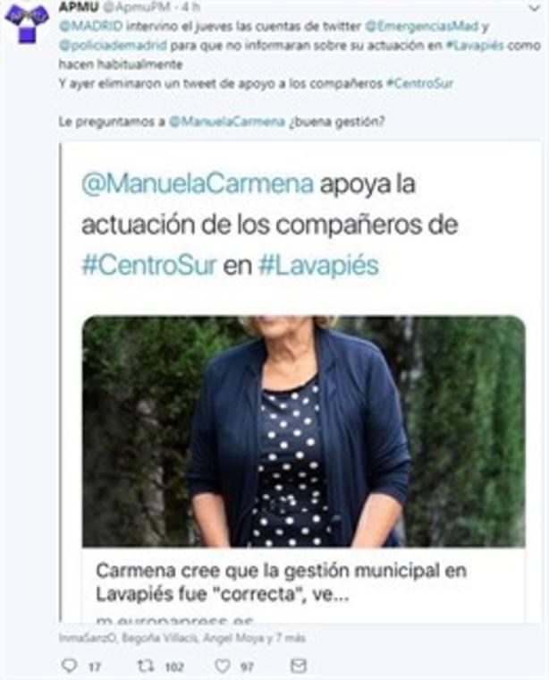 Un sindicato policial acusa al Ayuntamiento de secuestrar sus redes sociales por Lavapiés