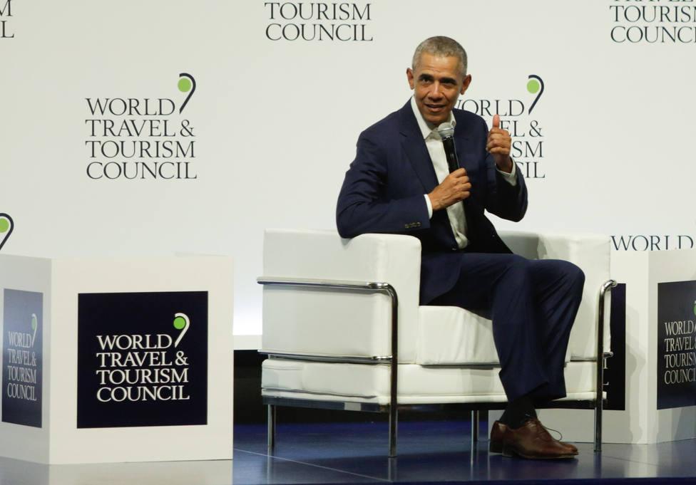 El expresidente de EEUU Barack Obama asiste este viernes en Marbella (Málaga) a un acto privado