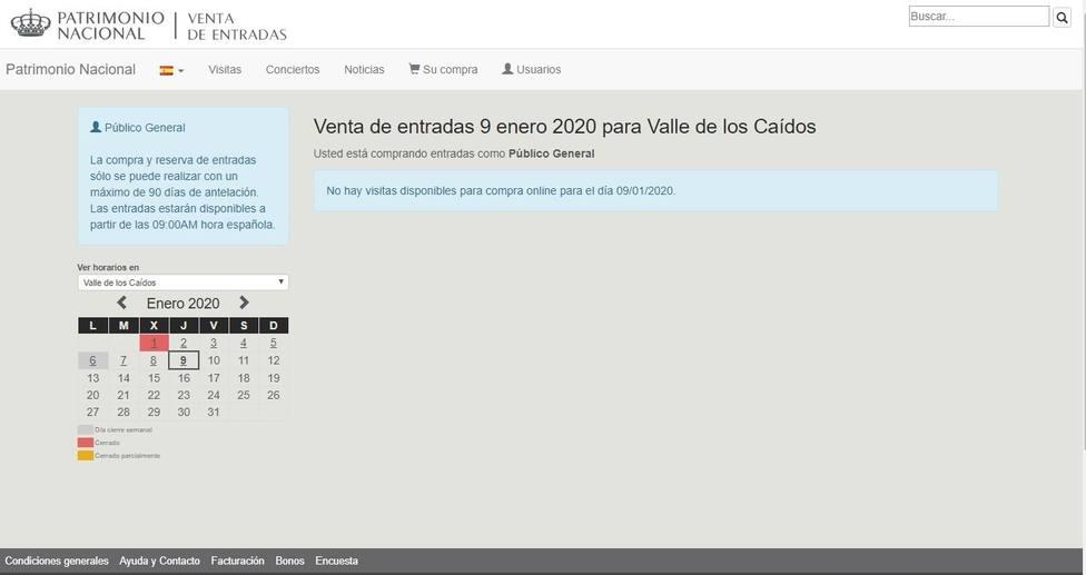Patrimonio no vende entradas online al Valle de los Caídos desde mañana por acto oficial