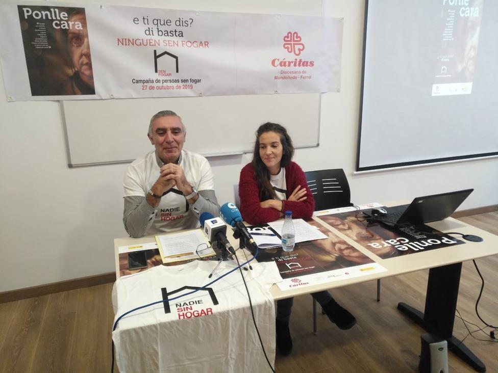 José María Pérez e Irene Rivera en la presentación de la campaña de Cáritas