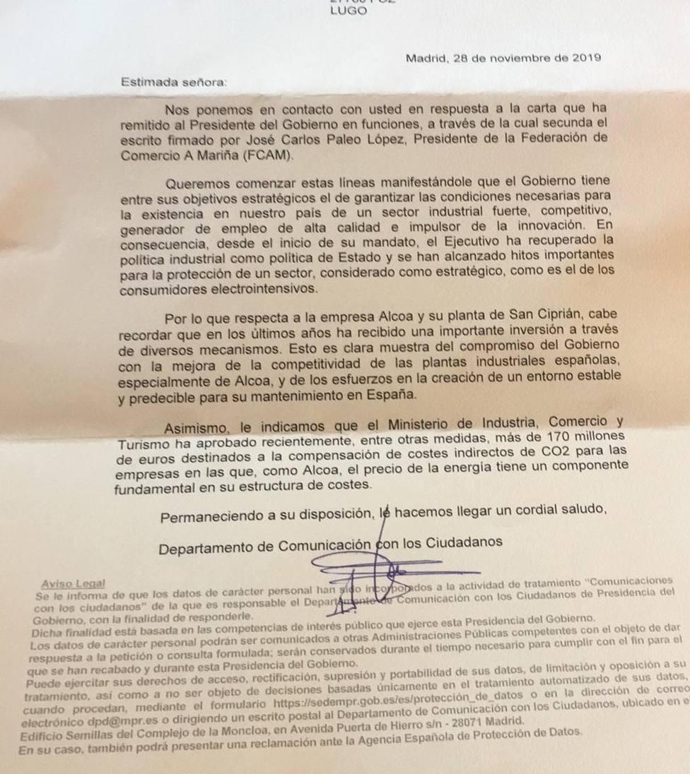 Carta sobre Alcoa enviada por Presidencia del Gobierno