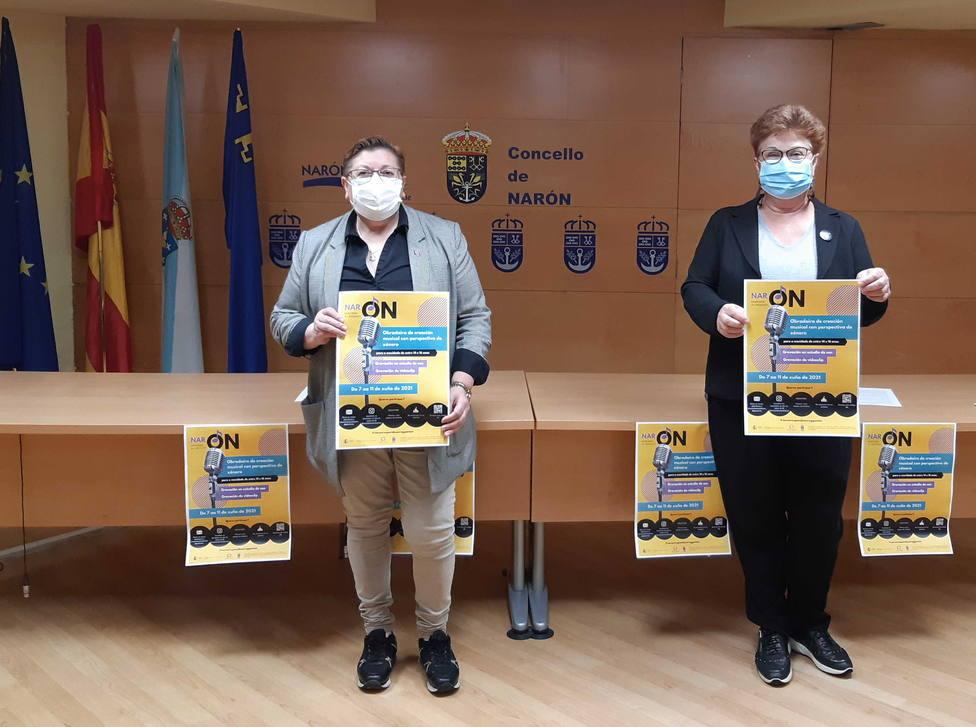 Las concejalas Mar Gómez y Mercedes Taibo presentaron la iniciativa. FOTO: Concello Narón