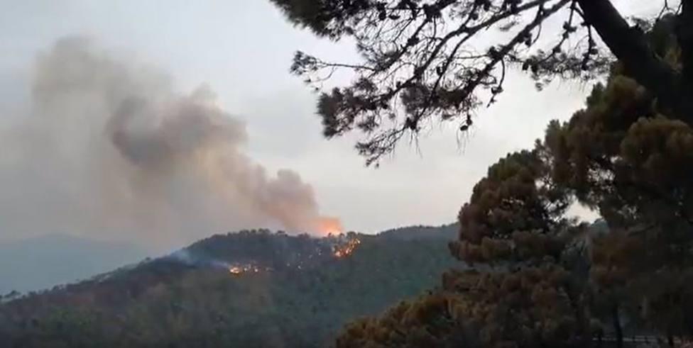Continúan los trabajos en Jubrique, donde el fuerte viento ha reavivado las llamas