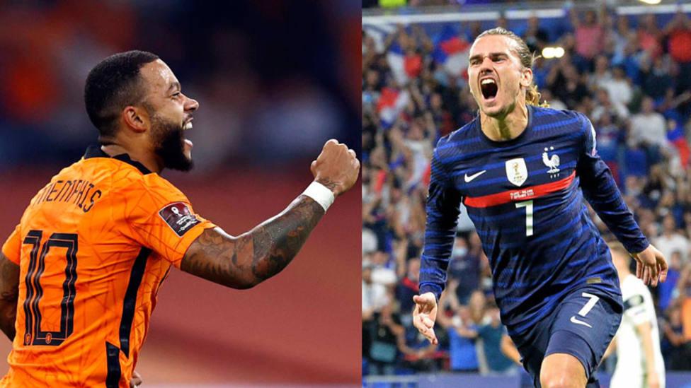 Memphis y Griezmann celebran sus goles con Paises Bajos y Francia (Cordon Press)