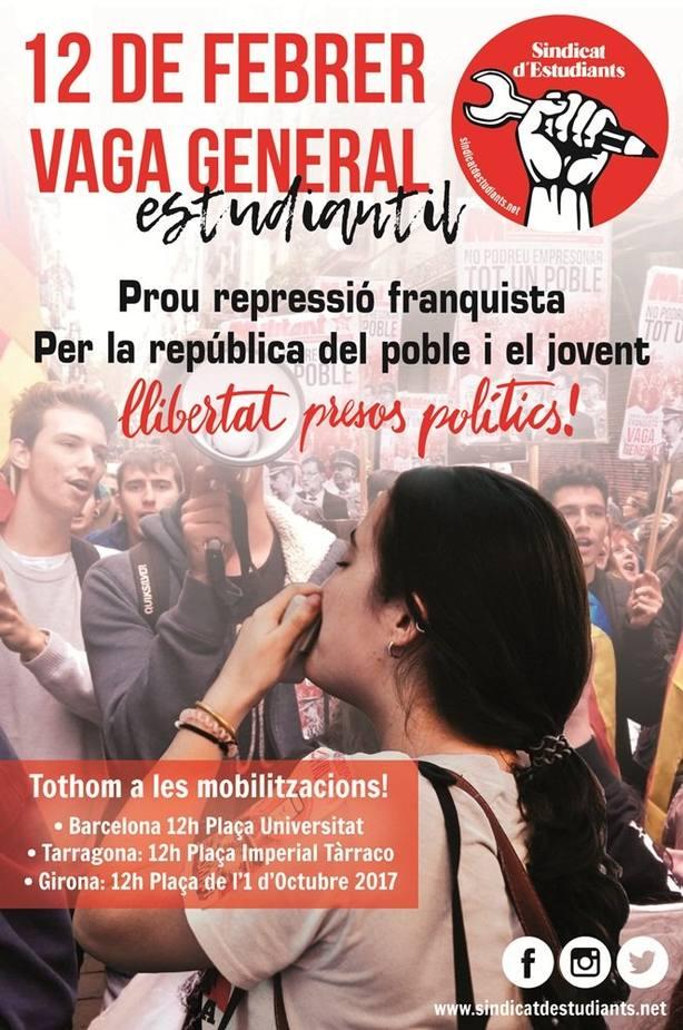 El Sindicat dEstudiants convoca huelga estudiantil en el primer día del juicio