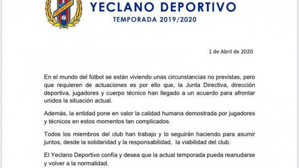 El Yeclano Deportivo llega a un acuerdo con su plantilla para la rebaja de los salarios