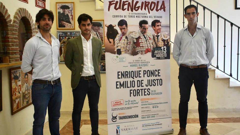 Gerardo Pérez-Clotet, Nacho de la Viuda y Fortes durante la presentación del cartel de Fuengirola