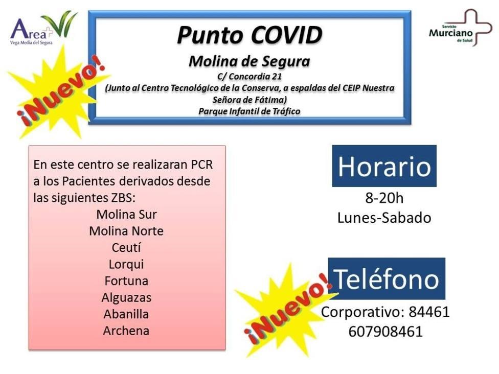 El SMS abrirá el lunes un Punto Covid en el parque infantil de tráfico de Molina