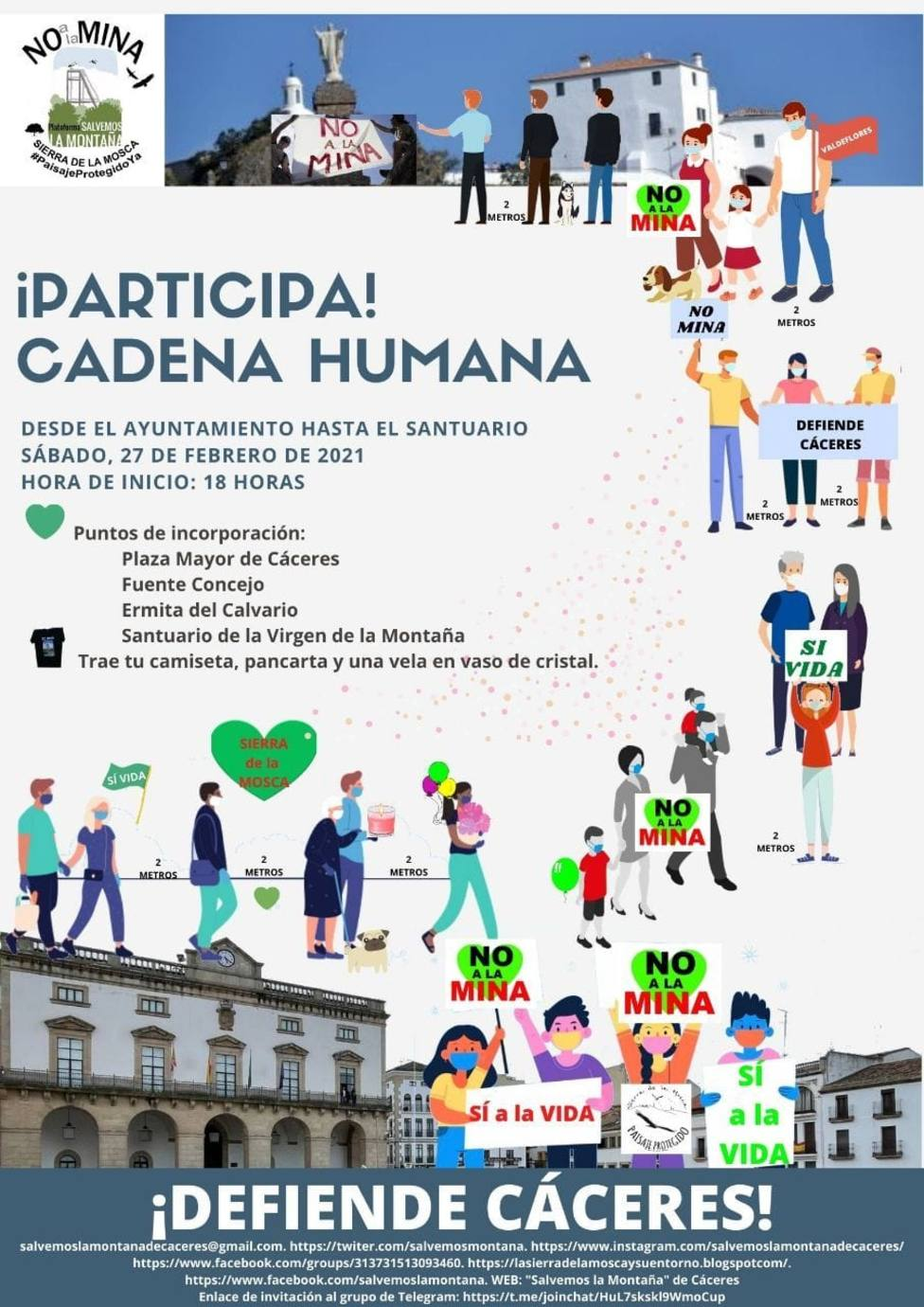Cadena humana No a la Mina este sábado en Cáceres
