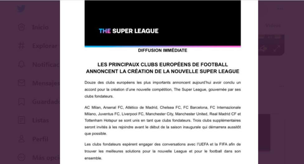 Comunicado oficial de la nueva Superliga Europea