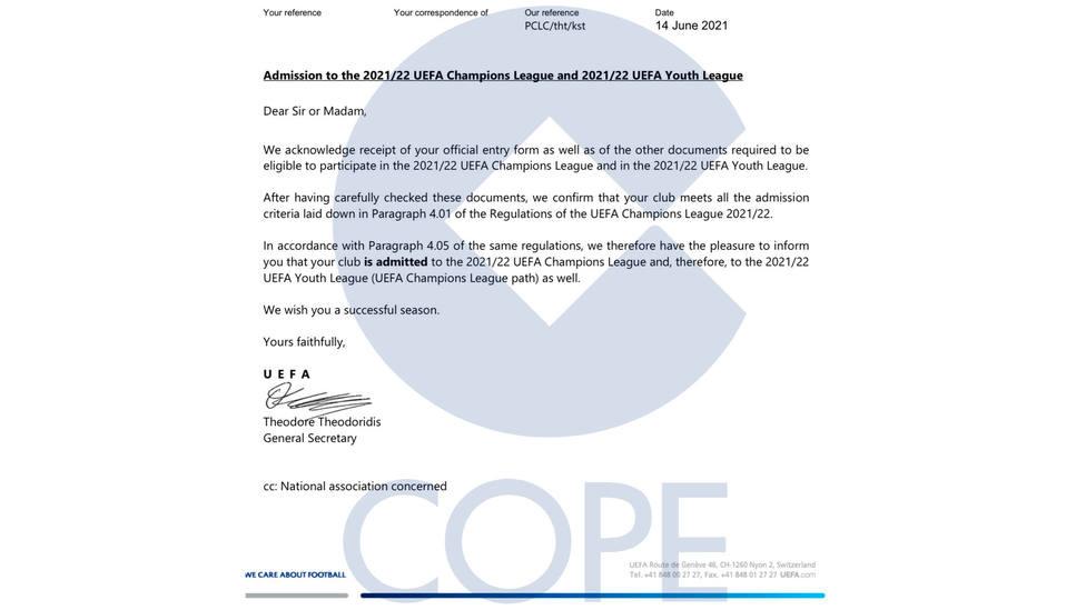 Invitación que la UEFA envió a Real Madrid, Barcelona y Juventus para inscribirse en competiciones europeas