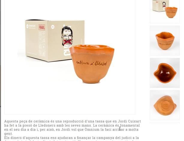 Òmnium hace negocio con Cuixart: venden una taza hecha por él en prisión a 15€ la unidad