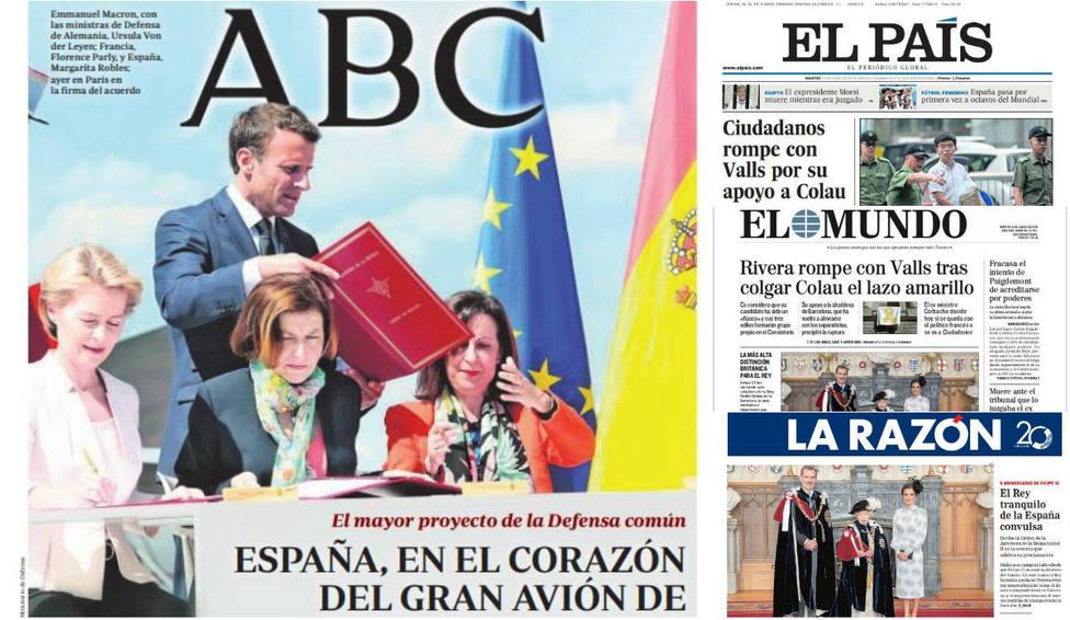 La ruptura definitiva de Ciudadanos con Valls por permitir que Colau volviese a ser alcaldesa, en las portadas