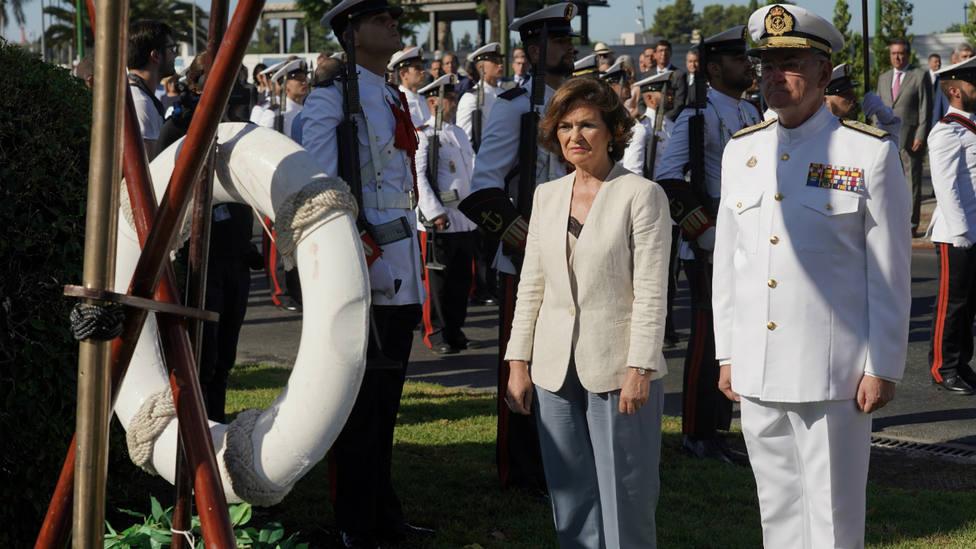Carmen Calvo en los actos de inauguración del V Centenario de la Primera Vuelta al Mundo en Sevilla