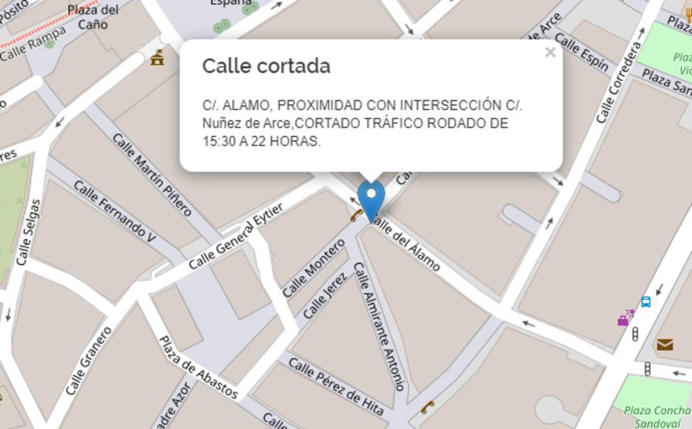 Hasta el próximo martes se producirán cortes de tráfico en calle Álamo