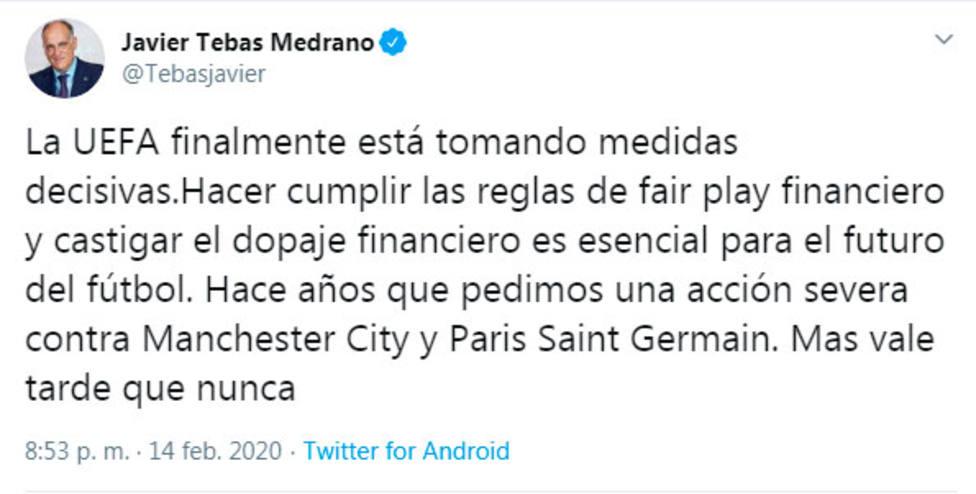 Tweet de Javier Tebas